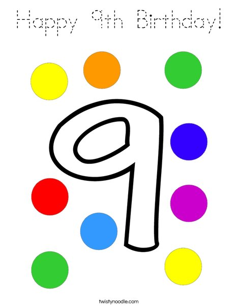 Happy 9th Birthday! Coloring Page