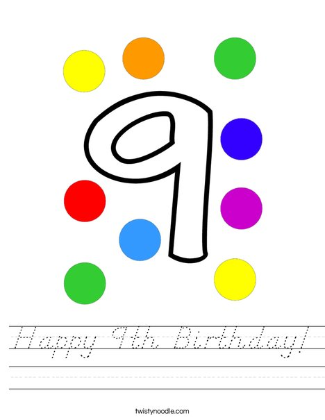Happy 9th Birthday! Worksheet