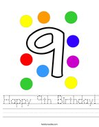Happy 9th Birthday Handwriting Sheet