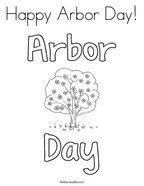 Happy Arbor Day Coloring Page