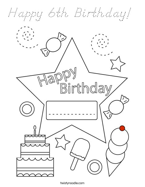 Today is my birthday! Coloring Page