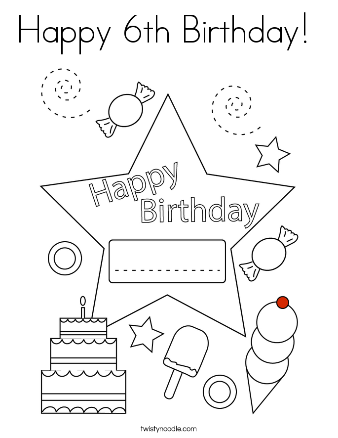 Happy 6th Birthday!  Coloring Page