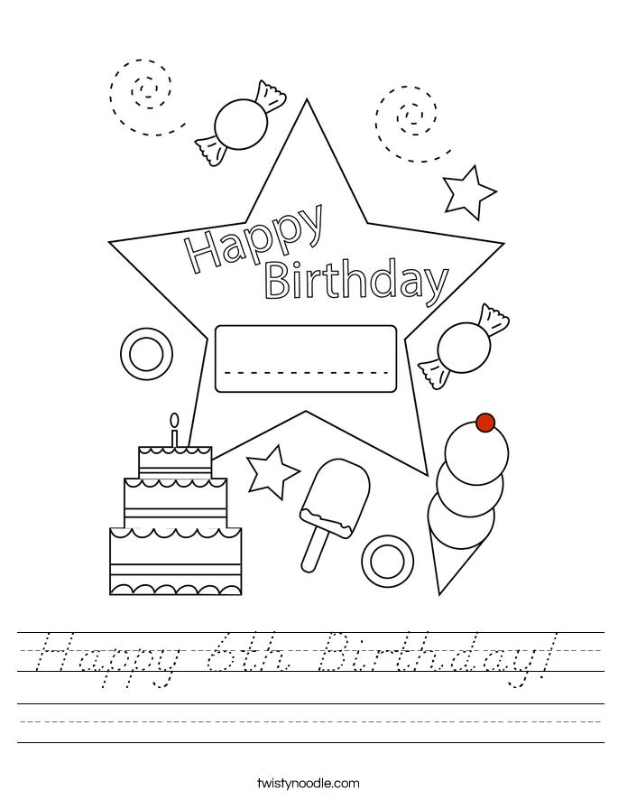 Happy 6th Birthday!  Worksheet