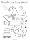 Happy Birthday Daddy Monster! Coloring Page