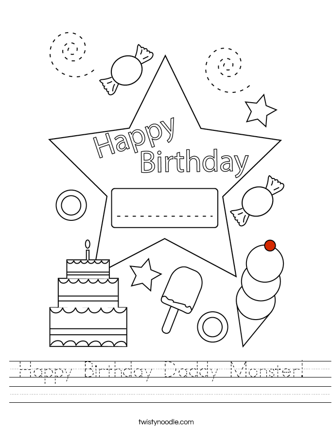 Happy Birthday Daddy Monster!  Worksheet