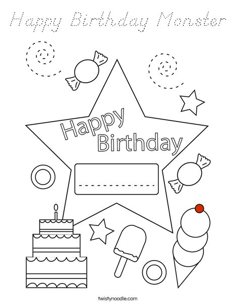 Happy Birthday Alien Coloring Page