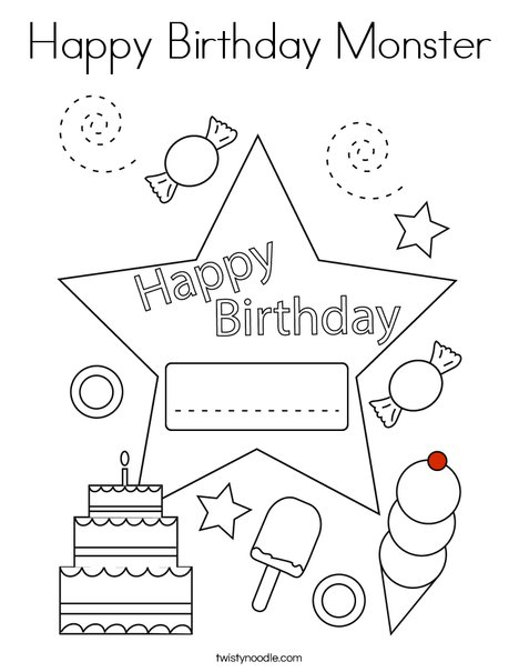 Happy Birthday Alien Coloring Page