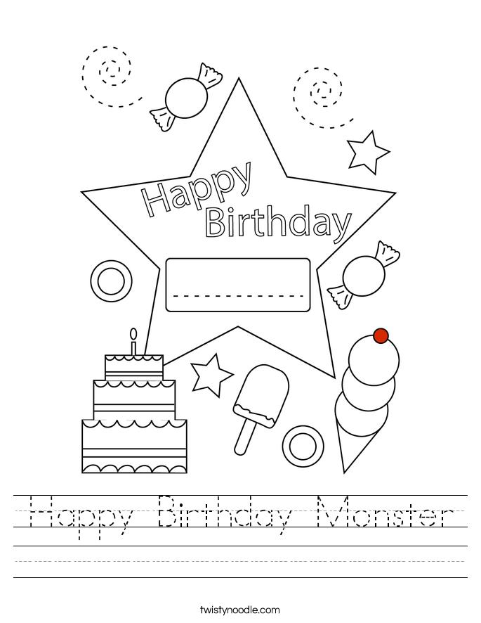 Happy Birthday Monster Worksheet