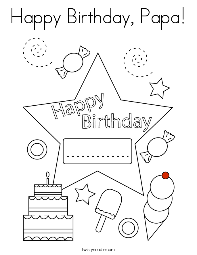 Coloring Page Happy Birthday #1