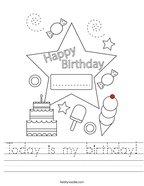 Today is my birthday Handwriting Sheet