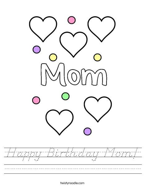 Happy Birthday Mom! Worksheet