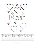 Happy Birthday Mom Handwriting Sheet
