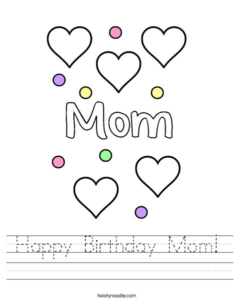 Happy Birthday Mom! Worksheet