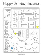 Happy Birthday Placemat Coloring Page