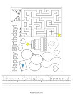 Happy Birthday Placemat Handwriting Sheet
