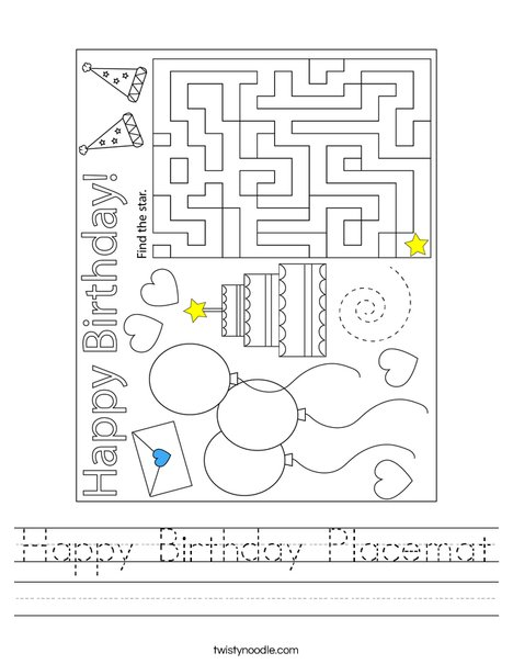 Happy Birthday Placemat Worksheet