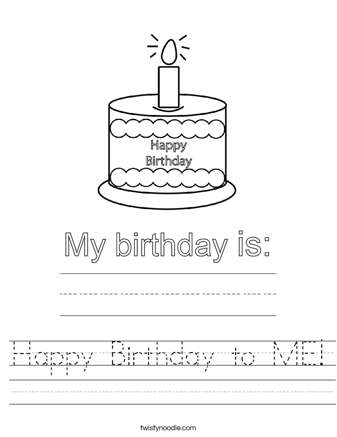 Happy Birthday to ME! Worksheet