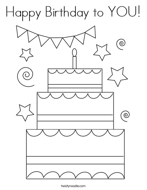 Happy Birthday to YOU! Coloring Page