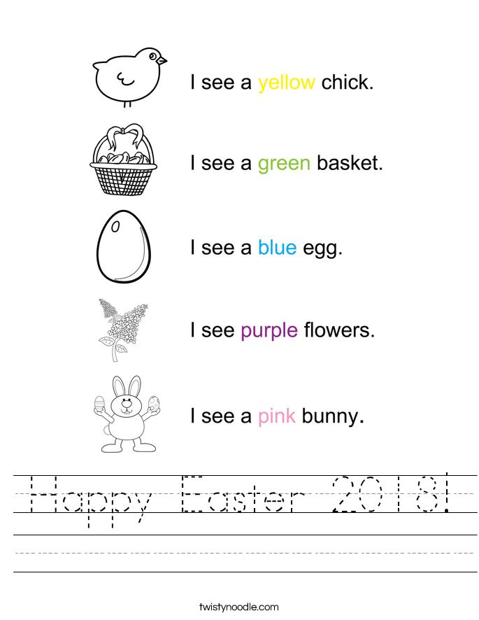 Happy Easter 2018! Worksheet