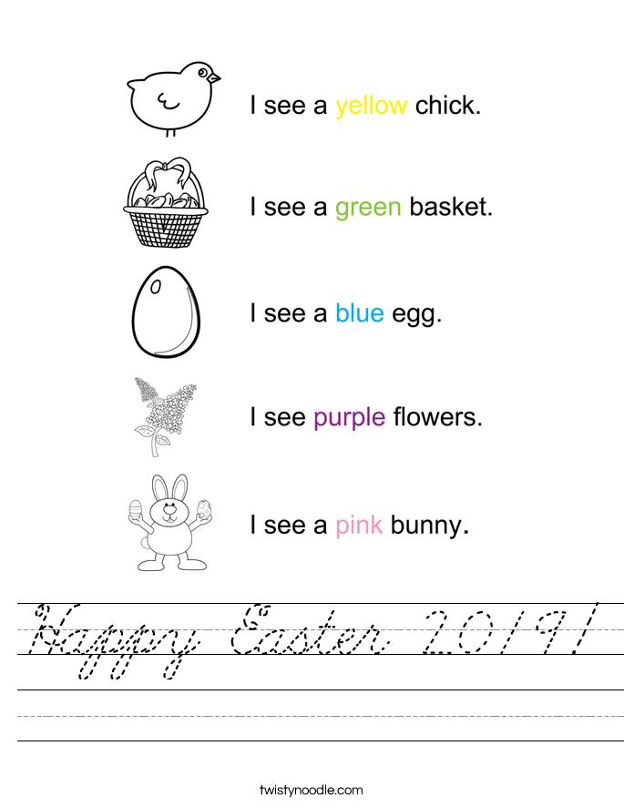 Happy Easter 2019! Worksheet