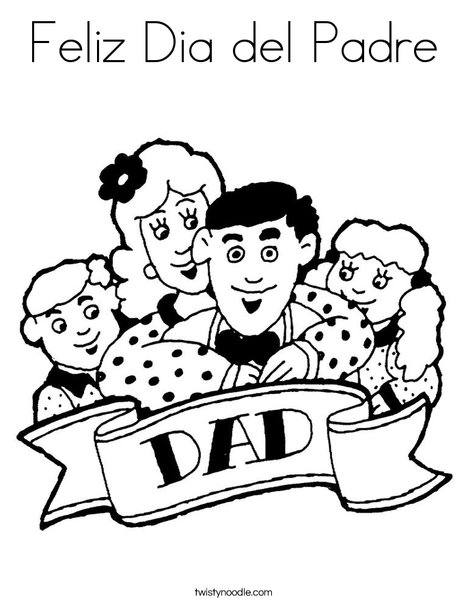 Dad and Family Coloring Page