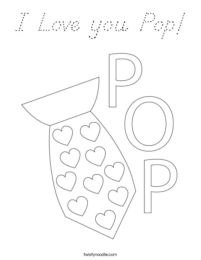 I Love you Pop! Coloring Page