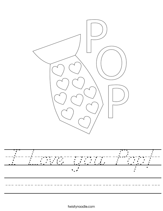I Love you Pop! Worksheet