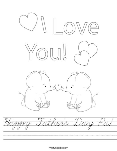 Happy Father's Day Giraffes Worksheet