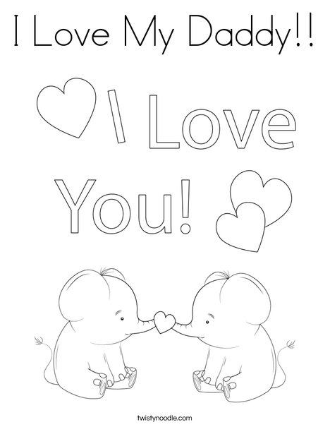 Happy Father's Day Giraffes Coloring Page