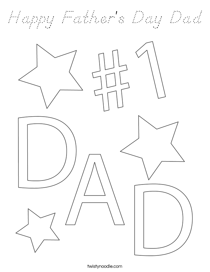 Happy Father's Day Dad Coloring Page