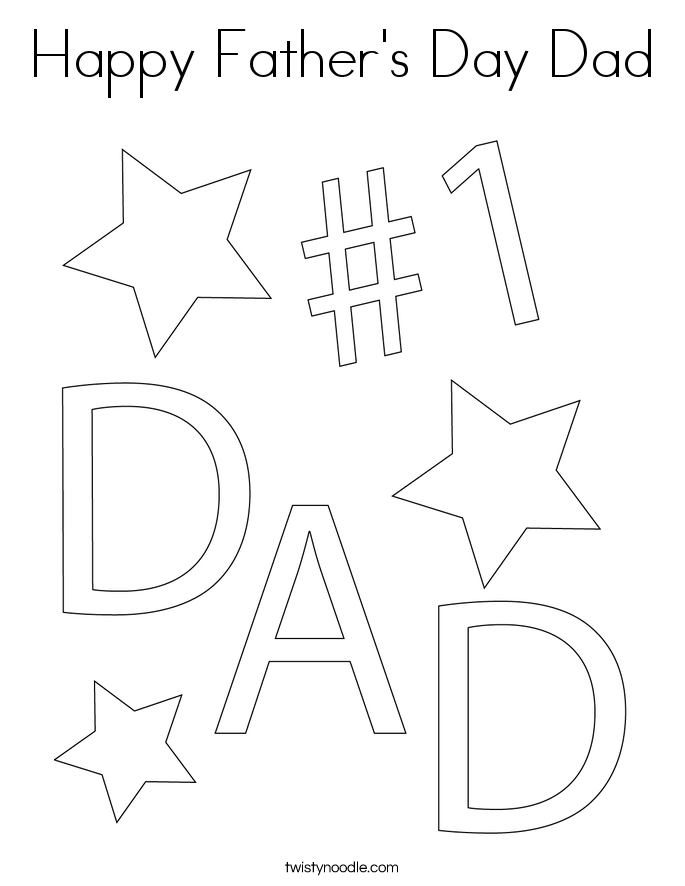 happy fathers day dad coloring page