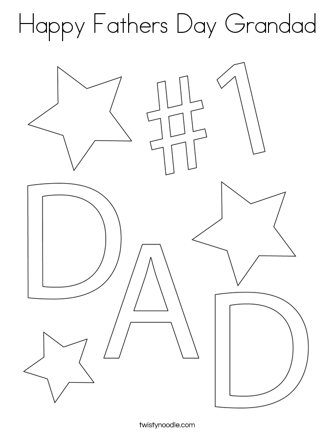 Happy Fathers Day Grandad Coloring Page