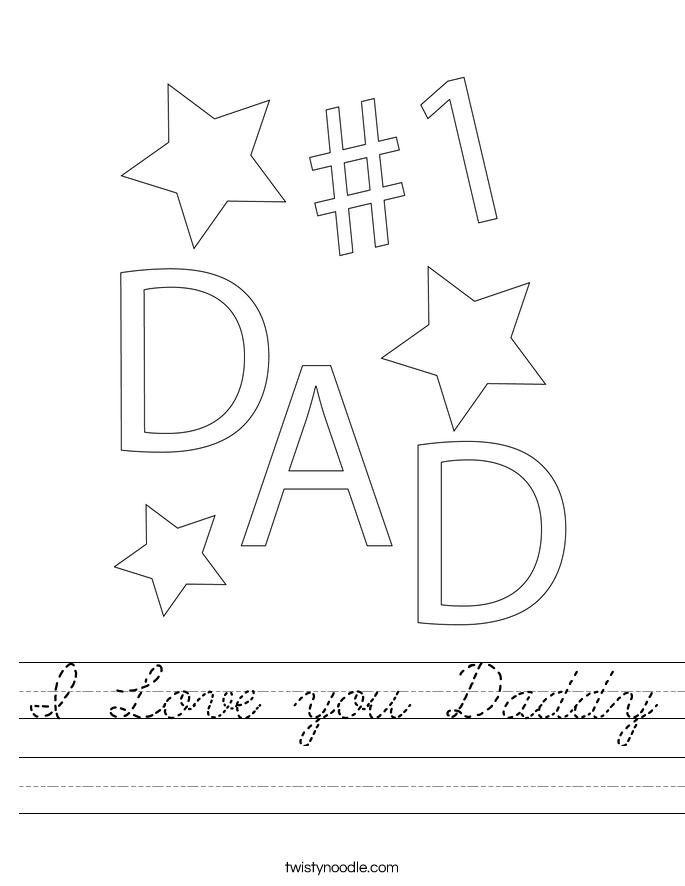 I Love you Daddy Worksheet