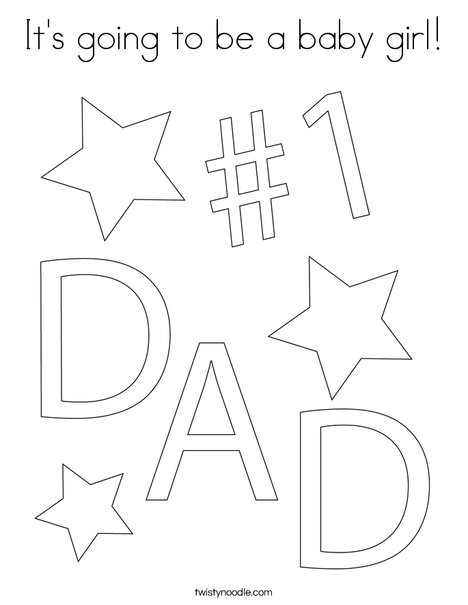 1 dad coloring page - Baby Girl Coloring Pages Kids
