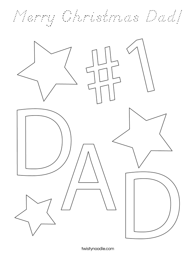 Merry Christmas Dad! Coloring Page