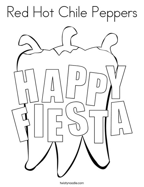 Happy Fiesta Peppers Coloring Page