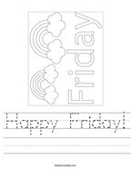 Happy Friday Handwriting Sheet