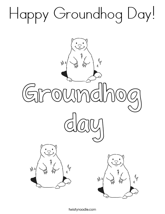 Happy Groundhog Day! Coloring Page