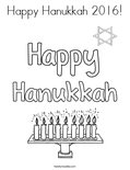 Happy Hanukkah 2016! Coloring Page
