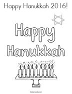 Happy Hanukkah 2016 Coloring Page