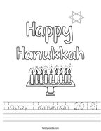 Happy Hanukkah 2018 Handwriting Sheet
