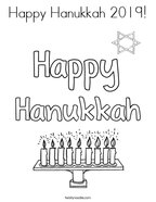 Happy Hanukkah 2019 Coloring Page