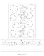 Happy Monday Handwriting Sheet
