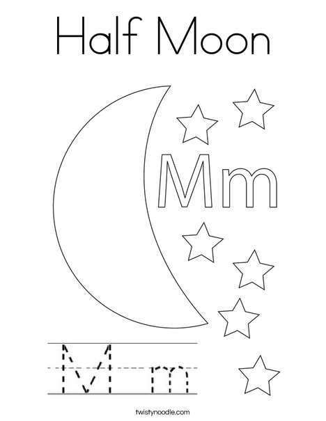 Half Moon Coloring Page - Twisty Noodle
