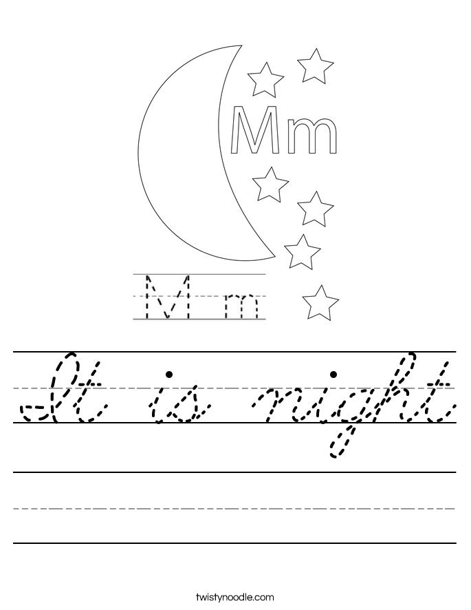 It is night Worksheet