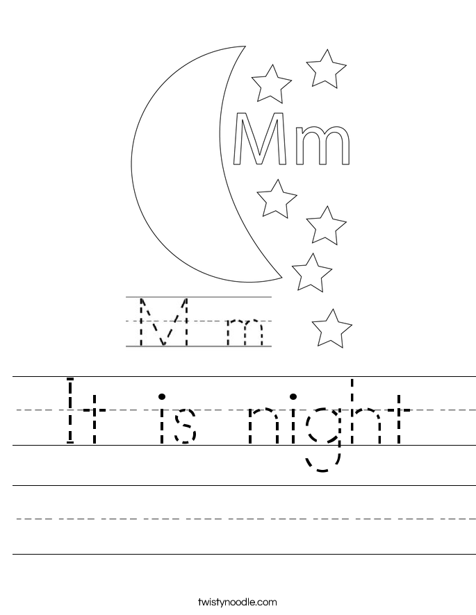 It is night Worksheet