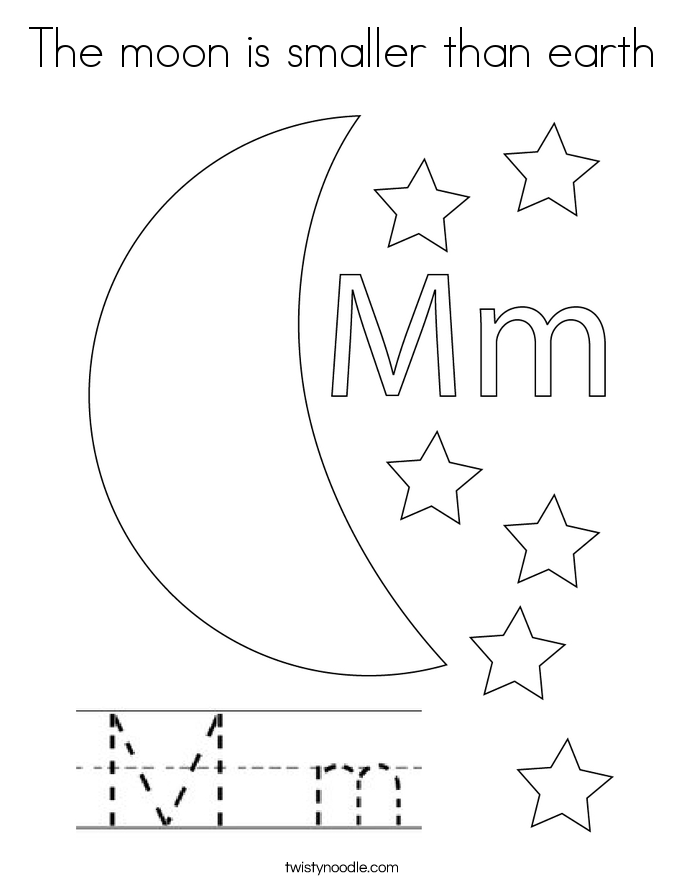 The moon is smaller than earth Coloring Page