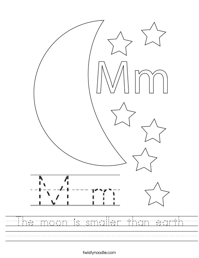 The moon is smaller than earth Worksheet