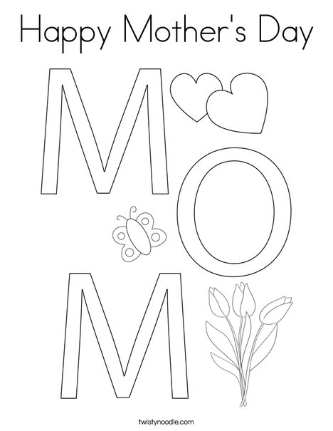 Happy Mother's Day Coloring Page - Twisty Noodle