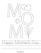 Happy Mother's Day Handwriting Sheet